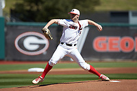 Georgia Bulldogs starting pitcher C.J. Smith (5) in action against the LSU Tigers at Foley Field on March 23, 2019 in Athens, Georgia. The Bulldogs defeated the Tigers 2-0. (Brian Westerholt/Four Seam Images)