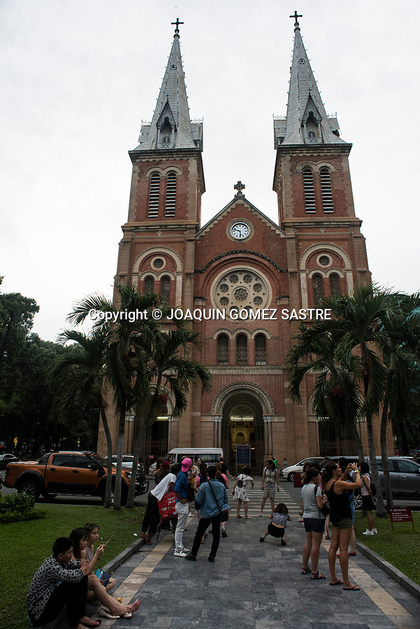 The Cathedral Basilica of Our Lady of the Immaculate Conception or also called Notredame cathedral of Saigon, is a cathedral and Catholic minor basilica located in the center of the city Ho Chi Minh.<br /> HO CHI MINH-VIETNAM