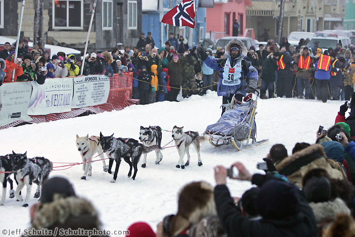 Robert Sorlie in the finish chute arriving in first place into Nome.  End of the  2005 Iditarod Trail Sled Dog Race.