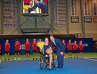 December 21, 2014, Rotterdam, Topsport Centrum, Lotto NK Tennis, Lady's wheelchair final, Winner Aniek van Koot    with KNLTB director Erik Poel <br /> Photo: Tennisimages/Henk Koster