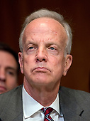 """United States Senator Jerry Moran (Republican of Kansas) listens as US Secretary of Defense James N. Mattis and the Chairman of the Joint Chiefs of Staff, US Marine Corps General Joseph F. Dunford, Jr.testify at a US Senate Committee on Appropriations Subcommittee on Defense hearing entitled """"A Review of the Budget & Readiness of the Department of Defense"""" on Capitol Hill in Washington, DC on Wednesday, March 22, 2017.<br /> Credit: Ron Sachs / CNP"""