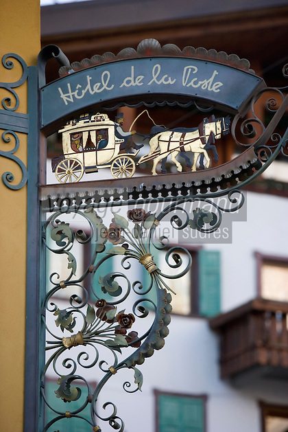 Europe/Italie/Vénétie/Dolomites/Cortina d'Ampezzo: Enseigne de L'Hotel de la Poste