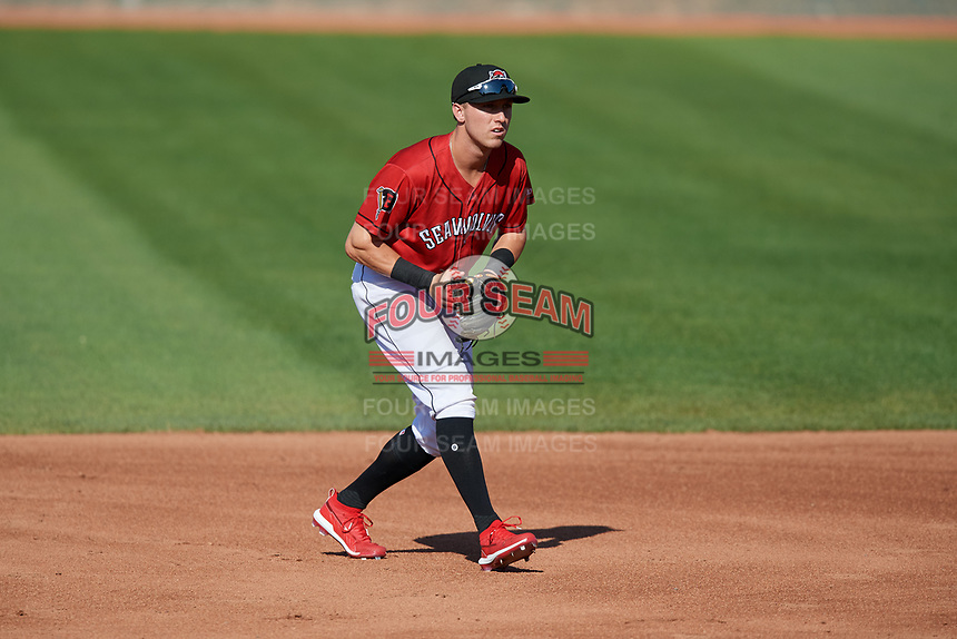 Erie SeaWolves second baseman Kody Clemens (8) during an Eastern League game against the Richmond Flying Squirrels on August 28, 2019 at UPMC Park in Erie, Pennsylvania.  Richmond defeated Erie 6-4 in the first game of a doubleheader.  (Mike Janes/Four Seam Images)