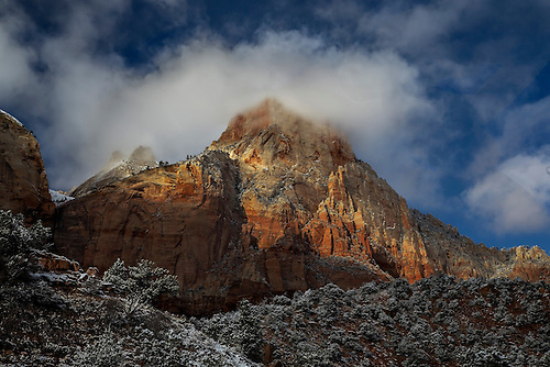 A fresh blanket of snow has covered the landscape at Zion National Park, Utah