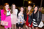 Rachel Burke,Michaela O'Sullivan, Emma Lawlor, Elish Burke and Rachel Stack enjoying the Causeway Comprehensive School night at the dogs at Kingdom Greyhound Stadium on Friday