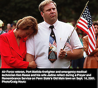 Ken Reese and Jadine Reese during Prayer and Remembrance Service at Penn State's Old Main lawn on sept. 14, 2001. Photo/Craig Houtz