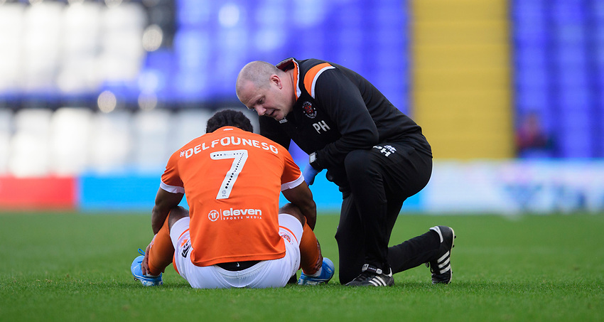 Blackpool's Nathan Delfouneso receives treatment for an injury from Blackpool physio Phil Horner<br /> <br /> Photographer Chris Vaughan/CameraSport<br /> <br /> The EFL Sky Bet League One - Coventry City v Blackpool - Saturday 7th September 2019 - St Andrew's - Birmingham<br /> <br /> World Copyright © 2019 CameraSport. All rights reserved. 43 Linden Ave. Countesthorpe. Leicester. England. LE8 5PG - Tel: +44 (0) 116 277 4147 - admin@camerasport.com - www.camerasport.com