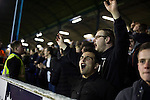 Southend United 1 Burton Albion 1, 22/02/2016. Roots Hall, League One. Home supporters in the west stand reacting with delight to their team's second goal as Southend United took on Burton Albion in a League 1 fixture at Roots Hall. Founded in 1906, Southend United moved into their current ground in 1955, the construction of which was funded by the club's supporters. Southend won this match by 3-1, watched by a crowd of 6503. Photo by Colin McPherson.