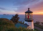 Tillamook County, Oregon:<br /> Evening clouds over Cape Meares lighthouse, Cape Meares State Park