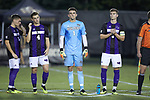 High Point Panthers goalie Keegan Meyer (1) stands for player introductions prior to the game against the Wake Forest Demon Deacons at W. Dennie Spry Soccer Stadium on October 9, 2018 in Winston-Salem, North Carolina. The Demon Deacons defeated the Panthers 4-2.  (Brian Westerholt/Sports On Film)