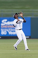 AFL West shortstop Lucius Fox (5), of the Peoria Javelinas and Tampa Bay Rays organization, prepares to catch a pop up during the Arizona Fall League Fall Stars game at Surprise Stadium on November 3, 2018 in Surprise, Arizona. The AFL West defeated the AFL East 7-6 . (Zachary Lucy/Four Seam Images)