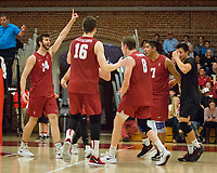 STANFORD, CA - March 10, 2018: Kyler Presho, Matt Klassen, Leo Henken, Mason Tufuga, Evan Enriques at Burnham Pavilion. The Stanford Cardinal lost to UC Irvine, 3-0.