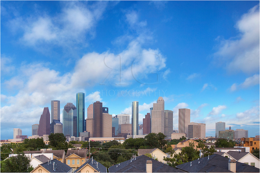 While shooting for a company in Houston, I took the opportunity to photograph the downtown Houston skyline in this image showing the city on a nice fall afternoon. Storm clouds were on the way, but at this time I was glad to have blue skies and nice summer-like clouds.