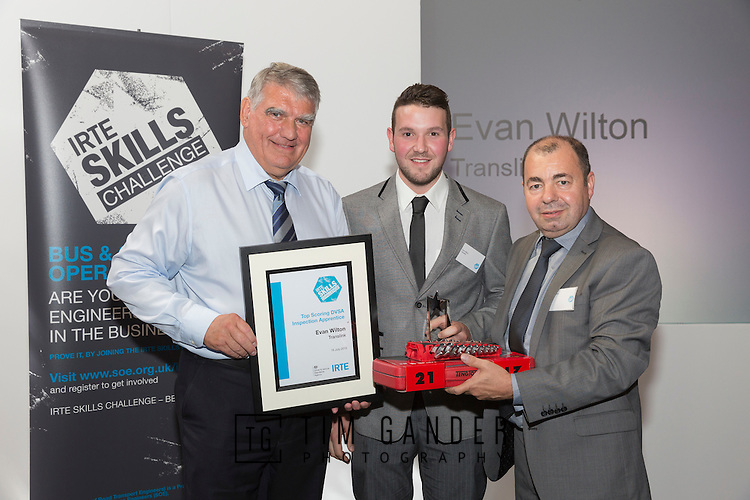 17/07/2015 The IRTE Skills Challenge 2015 prize-giving takes place at The National Motorcycle Museum, Birmingham. Sir Moir Lockhead (left) presents the Top Scoring DVSA Inspection Apprentice award to Evan Wilton of Translink, with Dave Easton of DVSA (right).