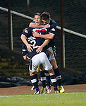 Dundee v St Johnstone.....27.02.13      SPL.John Baird celebrates making it 1-1 with Gary Irvine and Declan Gallacher.Picture by Graeme Hart..Copyright Perthshire Picture Agency.Tel: 01738 623350  Mobile: 07990 594431