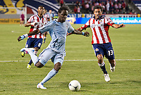CARSON, CA - April 1, 2012: Kai Kamara (23) of KC and Ante Jazic (13) of Chivas during the Chivas USA vs Sporting KC match at the Home Depot Center in Carson, California. Final score Sporting KC 1, Chivas USA 0.