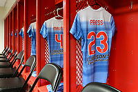 Bridgeview, IL - Saturday May 06, 2017: The jersey of Christen Press hangs in the locker room before a regular season National Women's Soccer League (NWSL) match between the Chicago Red Stars and the Houston Dash at Toyota Park.