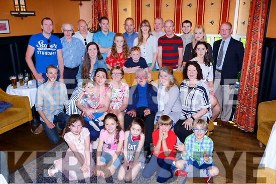 Steven Shine Killaha, Glenflesk seated centre who celebrated his 90th birthday with his family and friends in the Victoria House Hotel on Monday afternoon