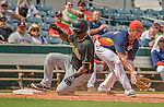 22 March 2015: Pittsburgh Pirates infielder Deibinson Romero slides safely into third during Spring Training action against the Houston Astros at Osceola County Stadium in Kissimmee, Florida. The Astros defeated the Pirates 14-2 in Grapefruit League play. Mandatory Credit: Ed Wolfstein Photo *** RAW (NEF) Image File Available ***