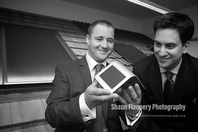 Pix: Shaun Flannery/shaunflanneryphotography.com...COPYRIGHT PICTURE>>SHAUN FLANNERY>01302-570814>>07778315553>>..10th June 2011................Green Energy Solutions..Units 4 & 5, Jupiter Business Park, Bentley, Doncaster..Ed Miliband, MP for Doncaster North pictured with Marcus Payne, Managing Director of Green Energy Solutions.