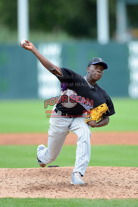 Nick Gordon (83) of Olympia High School in Windermere, Florida playing for the Colorado Rockies scout team during the East Coast Pro Showcase on July 31, 2013 at NBT Bank Stadium in Syracuse, New York.  (Mike Janes/Four Seam Images)