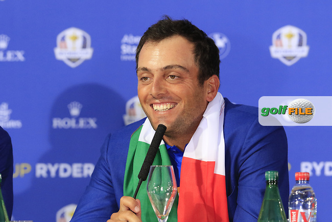 Francesco Molinari (Team Europe) at the press conference after Europe win the Ryder Cup 17.5 to 10.5 at the end of Sunday's Singles Matches at the 2018 Ryder Cup 2018, Le Golf National, Ile-de-France, France. 30/09/2018.<br /> Picture Eoin Clarke / Golffile.ie<br /> <br /> All photo usage must carry mandatory copyright credit (© Golffile | Eoin Clarke)