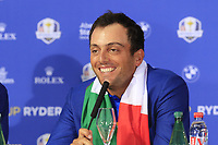 Francesco Molinari (Team Europe) at the press conference after Europe win the Ryder Cup 17.5 to 10.5 at the end of Sunday's Singles Matches at the 2018 Ryder Cup 2018, Le Golf National, Ile-de-France, France. 30/09/2018.<br /> Picture Eoin Clarke / Golffile.ie<br /> <br /> All photo usage must carry mandatory copyright credit (&copy; Golffile | Eoin Clarke)