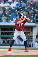 Brian Bogusevic (16) of the Lehigh Valley IronPigs at bat against the Charlotte Knights at BB&T BallPark on May 30, 2015 in Charlotte, North Carolina.  The IronPigs defeated the Knights 1-0.  (Brian Westerholt/Four Seam Images)