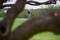 Brett Stegmaier (USA) watches his second shot on 18 during round 1 of the Valero Texas Open, AT&amp;T Oaks Course, TPC San Antonio, San Antonio, Texas, USA. 4/20/2017.<br /> Picture: Golffile | Ken Murray<br /> <br /> <br /> All photo usage must carry mandatory copyright credit (&copy; Golffile | Ken Murray)