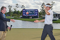 Ian Poulter (GBR) is welcomed back to the 18th green for the trophy presentation following round 4 of the Houston Open, Golf Club of Houston, Houston, Texas. 4/1/2018.<br /> Picture: Golffile | Ken Murray<br /> <br /> <br /> All photo usage must carry mandatory copyright credit (&copy; Golffile | Ken Murray)