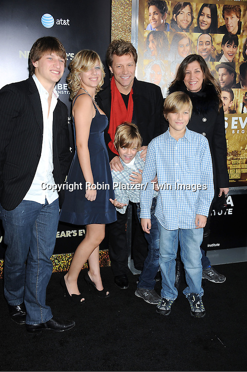 "Jon Bon Jovi and family attend The Special Screening of "" New Year's Eve"" on .December 7, 2011 at The Ziegfeld Theatre in New York City. The evening is sponsored by AT & T and is benefitting The Tribeca Film Institute ."