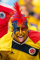 A Columbia fan in fancy dress and face paint