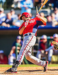 7 March 2013: Washington Nationals infielder Anthony Rendon breaks his bat during a Spring Training game against the Houston Astros at Osceola County Stadium in Kissimmee, Florida. The Astros defeated the Nationals 4-2 in Grapefruit League play. Mandatory Credit: Ed Wolfstein Photo *** RAW (NEF) Image File Available ***