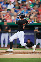 Kane County Cougars third baseman Ryan Grotjohn (33) follows through on a swing during a game against the South Bend Cubs on July 21, 2018 at Northwestern Medicine Field in Geneva, Illinois.  South Bend defeated Kane County 4-2.  (Mike Janes/Four Seam Images)