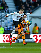 9th February 2019, Pride Park, Derby, England; EFL Championship football, Derby Country versus Hull City; Martyn Waghorn of Derby County controls the ball with Robbie McKenzie of Hull City close by