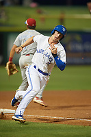Dunedin Blue Jays catcher Riley Adams (21) rounds third base during a Florida State League game against the Clearwater Threshers on April 4, 2019 at Spectrum Field in Clearwater, Florida.  Dunedin defeated Clearwater 11-1.  (Mike Janes/Four Seam Images)