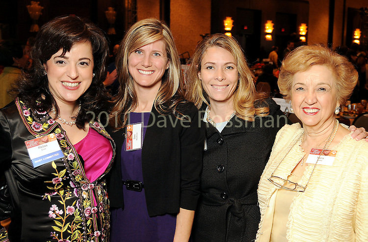 Melisa Dion, Lisa Kauderer, Sarah Kozul and Maria Juarez at the Heart of Gold Celebration benefitting Neighborhood Centers Inc at the Hilton Americas Hotel Thursday Feb. 25,2010. (Dave Rossman Photo)