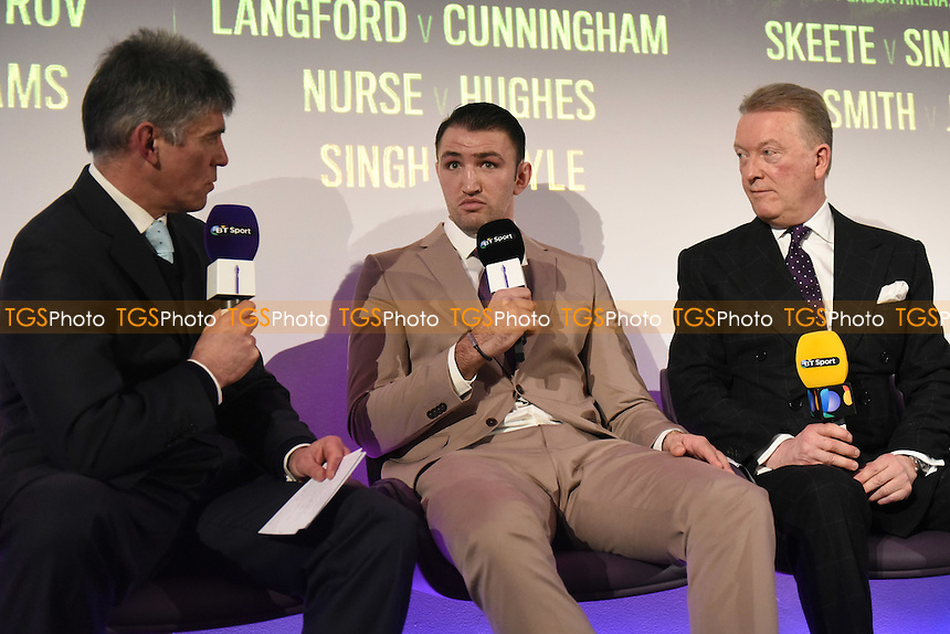 Boxer Hughie Fury (C) and promoter Frank Warren (R) during a BT Sport Press Conference at the BT Tower on 23rd January 2017