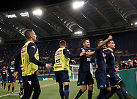 Calcio, Serie A: Roma, stadio Olimpico, 20 settembre 2017.<br /> Napoli's Jos&eacute; Maria Callejon (r) celebrates after scoring  with his teammates during the Italian Serie A football match between Lazio and Napoli at Rome's Olympic stadium, September 20, 2017.<br /> UPDATE IMAGES PRESS/Isabella Bonotto
