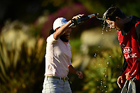 I.K. Kim (KOR) pours champagne on Eun-Hee Ji caddie during the Final Round at the Kia Classic,Park Hyatt Aviara Resort, Golf Club &amp; Spa, Carlsbad, California, USA. 3/25/18.<br /> Picture: Golffile | Bruce Sherwood<br /> <br /> <br /> All photo usage must carry mandatory copyright credit (&copy; Golffile | Bruce Sherwood)