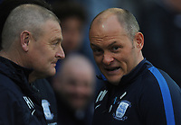 Preston North End manager Alex Neil chats with Frankie McAvoy<br /> <br /> Photographer Kevin Barnes/CameraSport<br /> <br /> The EFL Sky Bet Championship - Preston North End v Leeds United -Tuesday 9th April 2019 - Deepdale Stadium - Preston<br /> <br /> World Copyright &copy; 2019 CameraSport. All rights reserved. 43 Linden Ave. Countesthorpe. Leicester. England. LE8 5PG - Tel: +44 (0) 116 277 4147 - admin@camerasport.com - www.camerasport.com