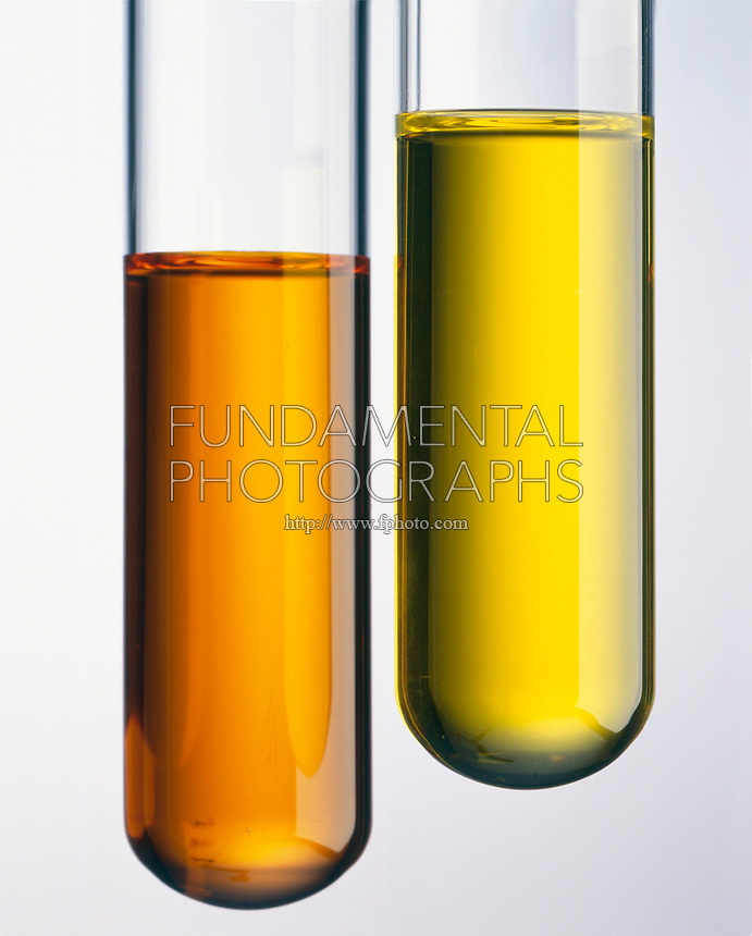 POTASSIUM DICHROMATE &amp; POTASSIUM CHROMATE<br /> In solution<br /> Left: The dichromate ion, Cr2O7(2-), of K2Cr2O7(aq)  is deep orange while the chromate ion, CrO4(2-),  of K2CrO4(aq) is bright yellow.