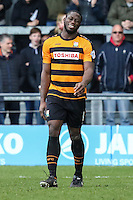 John Akinde of Barnet after scoring a penalty to make it 2-1 during the Sky Bet League 2 match between Barnet and Luton Town at The Hive, London, England on 28 March 2016. Photo by David Horn.