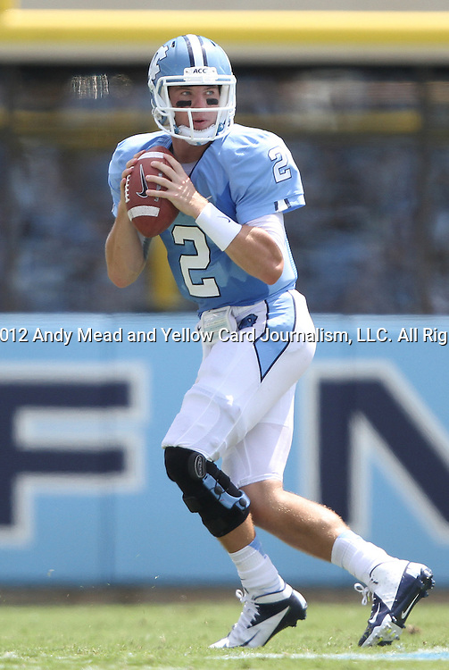 01 September 2012: UNC's Bryn Renner. The University of North Carolina Tar Heels played the Elon University Phoenix at Kenan Memorial Stadium in Chapel Hill, North Carolina in a 2012 NCAA Division I Football game. UNC won the game 62-0.