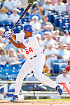 6 March 2006: Joel Guzman, infielder for the Los Angeles Dodgers, at bat during a Spring Training game against the Washington Nationals. The Nationals and Dodgers played to a scoreless tie at Holeman Stadium, in Vero Beach Florida...Mandatory Photo Credit: Ed Wolfstein..