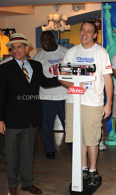 WWW.ACEPIXS.COM . . . . . ....July 2 2009, New York City....2008 Nathans Famous Hot Dog Eating Champion Joey Chestnut at the official weigh-in ceremony for the 94th Annual Nathan's Famous Fourth of July International Hot Dog-Eating Contest at Macys Herald Square on July 2, 2009 in New York City.....Please byline: KRISTIN CALLAHAN - ACEPIXS.COM.. . . . . . ..Ace Pictures, Inc:  ..tel: (212) 243 8787 or (646) 769 0430..e-mail: info@acepixs.com..web: http://www.acepixs.com