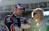 Apr 17, 2009; Avondale, AZ, USA; NASCAR Sprint Cup Series driver Sam Hornish Jr with wife Crystal Hornish during qualifying for the Subway Fresh Fit 500 at Phoenix International Raceway. Mandatory Credit: Mark J. Rebilas-