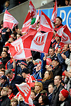 Stoke City fans hold up banners during the Championship League match at The Britannia Stadium, Stoke. Picture date 4th May 2008. Picture credit should read: Simon Bellis/Sportimage