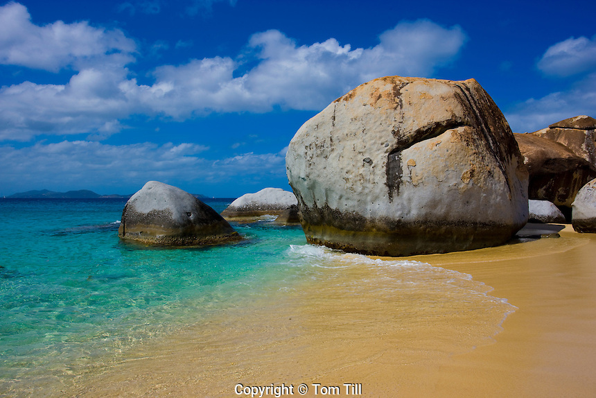 Small beach between boulders, The Baths, Virgin Gorda, British Virgin Islands, The Baths National Park, Caribbean Sea