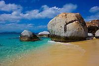 Small beach between boulders, The Baths, Virgin Gorda, British Virgin Islands, The Baths National Park, Caribbean Sea